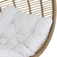 Hangstoel rond staal naturel met kussens wit