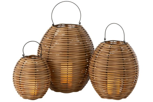 Lantaarn buiten Led vlam effect Gewoven Plastic Naturel Large