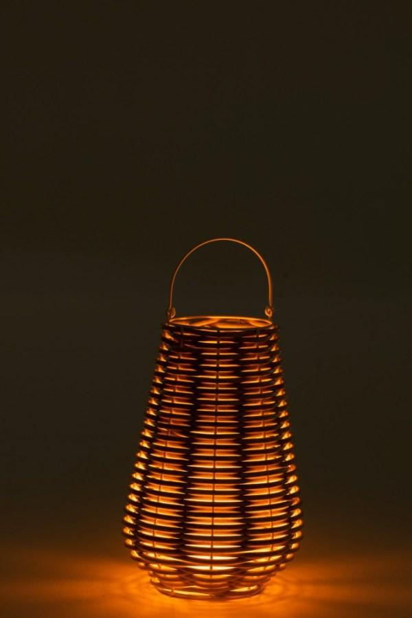 Lantaarn led vlam effect op batt. gewoven plastic wit small