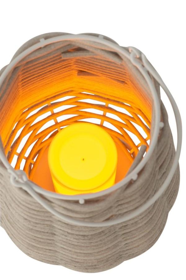 Lantaarn led vlam effect op batt. gewoven plastic wit large
