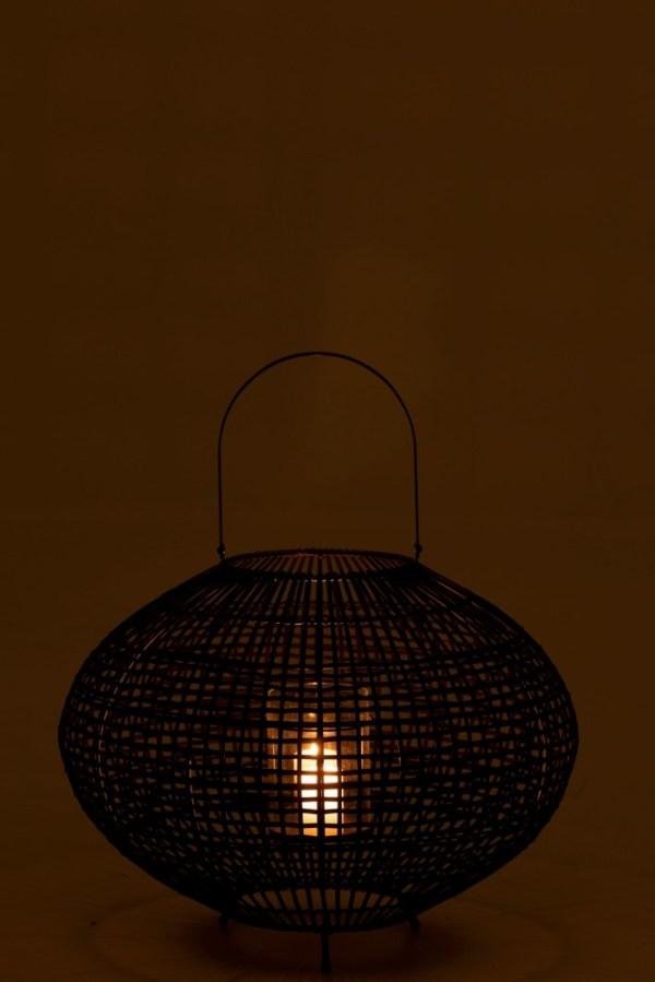 Lantaarn Met Handvat Op Voet Rotan Metaal Zwart