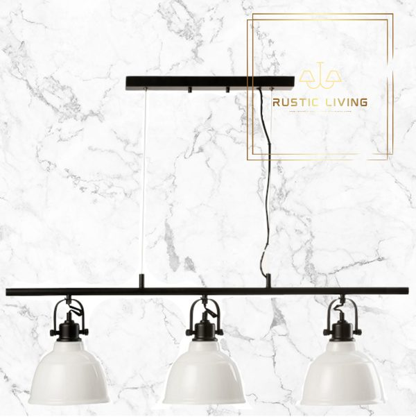 Hanglamp triple Magali Staal Glas Wit