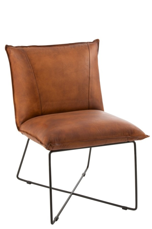 Lounge Stoel Avi Leder ijzer Cognac