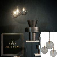 Dome Deco hanglamp 3 glazen bollen smoke glas met goud