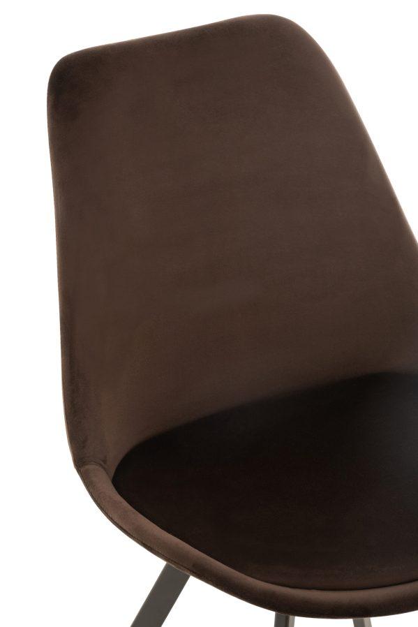 Stoel Helene Metaal Textiel fluweel Donker Bruin