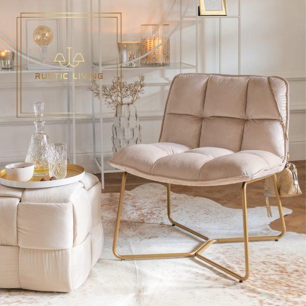 Lounge Stoel Lisa Metaal goud Textiel fluweel beige 1