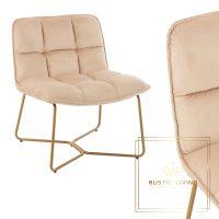 Lounge Stoel Lisa Metaal goud Textiel fluweel beige