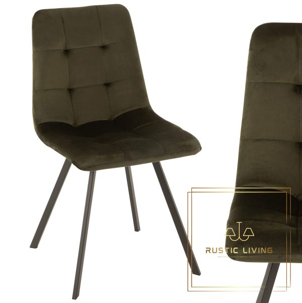 Stoel Morgan Textiel fluweel Metaal zwart Donker Groen