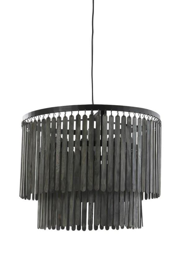 Hanglamp Gulag landelijke stijl metaal zwart hout mat zwart