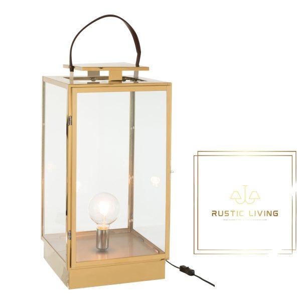 tafellamp lantaarn goud metaal glas e27