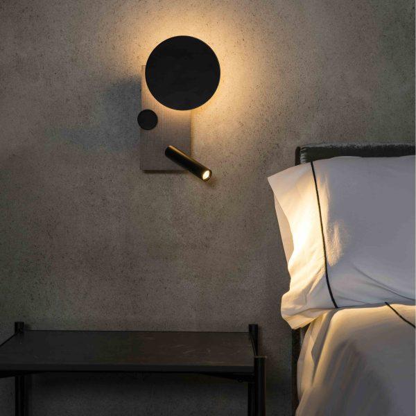 Faro Klee Led design lamp wandlamp met leeslamp grijs links