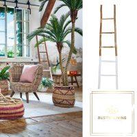 Decoratieve ladder Sten hout naturel wit 180 hoog