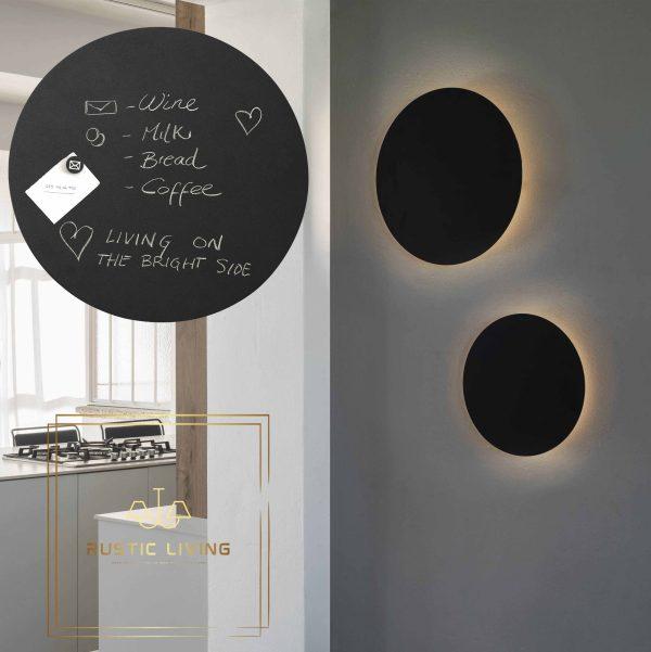 Led wandlamp Board rond krijtbord leisteen zwart 35cm en 45 cm