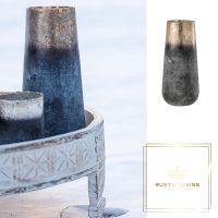 Vaas Antique Conisch Glas Blauw Grijs
