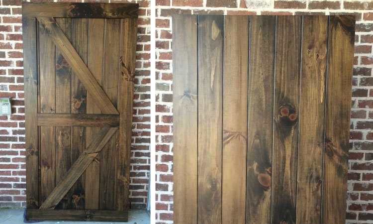 White Pine Double Angle Brace Barn Door