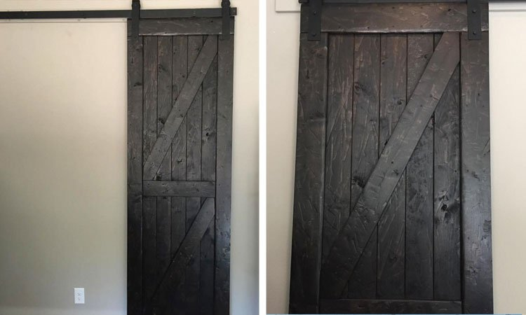Ebony Double Angle Brace Barn Door