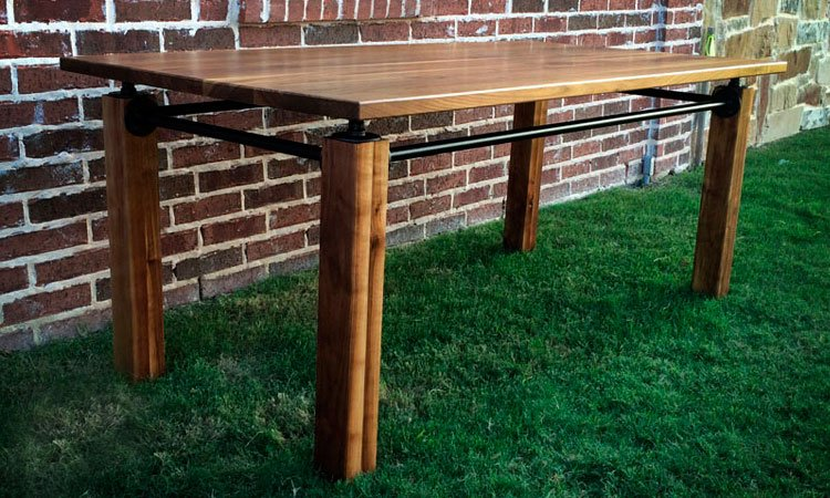 Walnut Hardwood Industrial Farmhouse Table