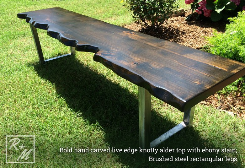 brushed-steel-live-edge-dining-table-bench-prosper-texas