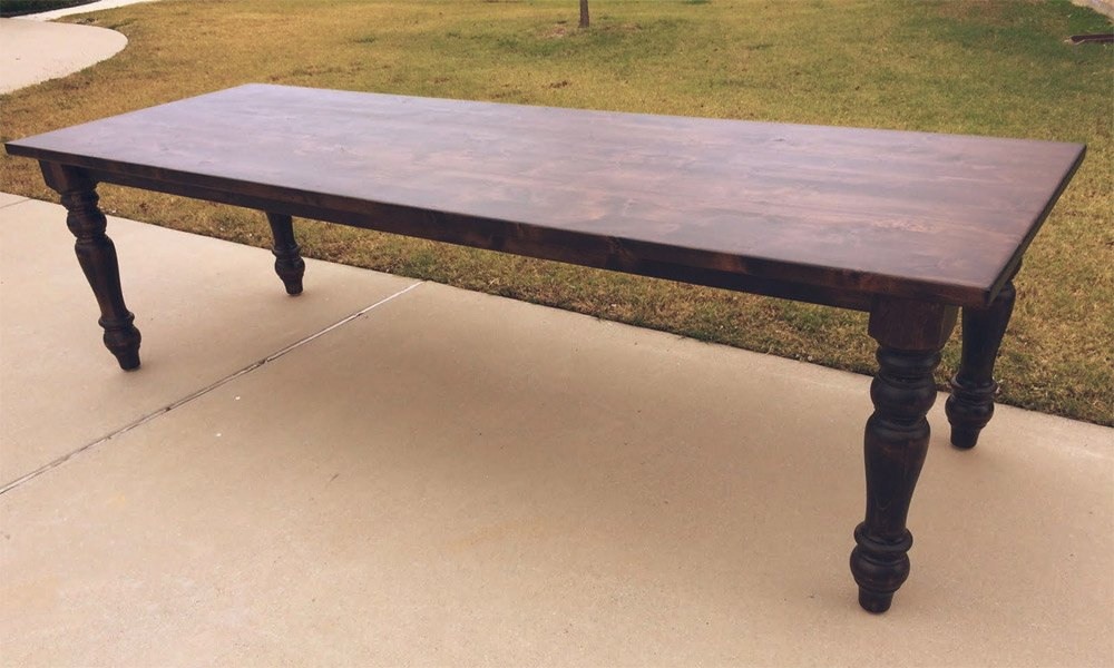 Turned Leg Farmhouse Table | Custom Dining Table Near Me