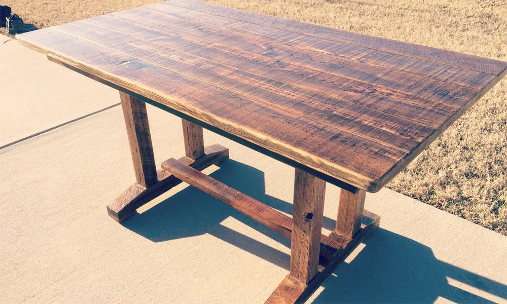 Reclaimed Pedestal Farmhouse Table | Custom Wood Dining Table Dallas