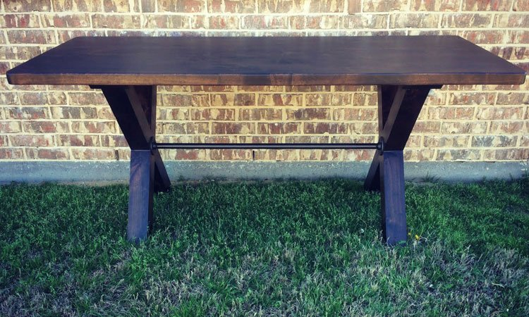 Industrial X-Base Trestle Table | Custom Dining Table Denton