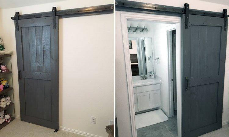 Slate Gray Center Brace Barn Door
