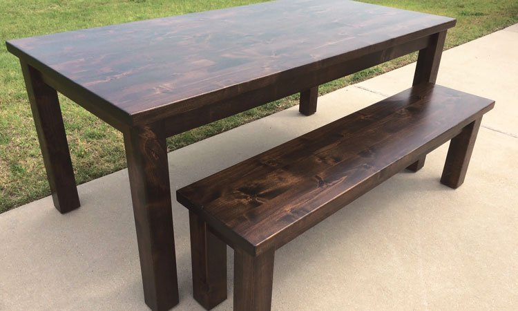 Custom Dark Walnut Classic Farmhouse Table & Bench