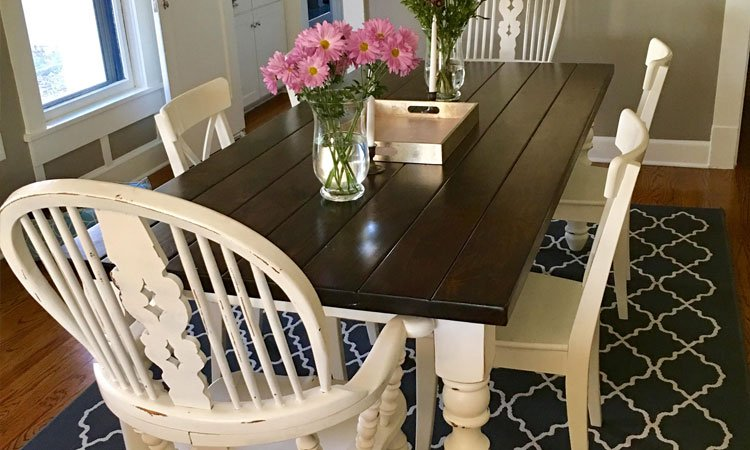 Dark Walnut Turned Leg Farmhouse Table