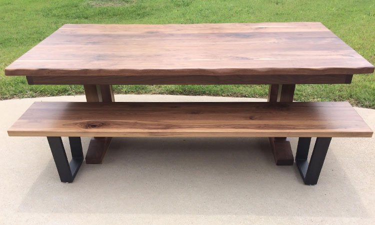 Pedestal Farmhouse Table & Bench