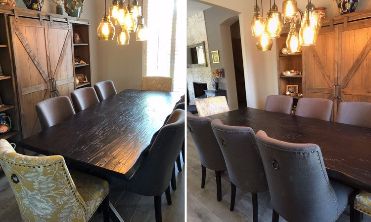 Handscraped Hardwood & Steel Table | Artisan Built Dining Tables Allen