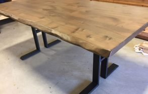 Steel + Reclaimed Hardwood Table w/Live Edge | Rustic Dining Tables Frisco