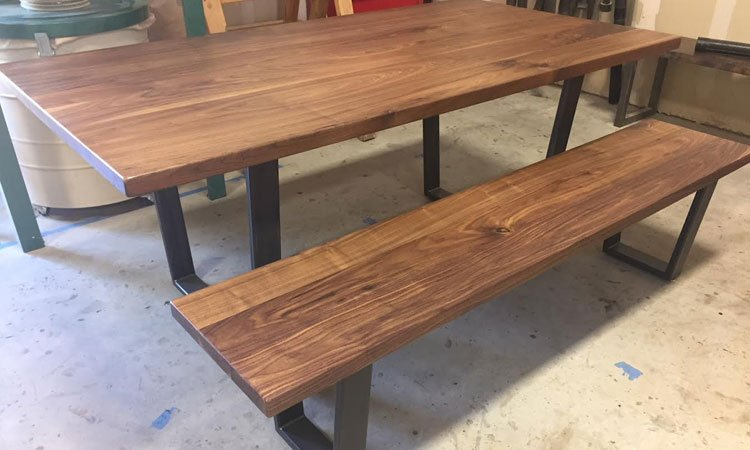 Black Walnut & Steel Table | Custom Industrial Style Furniture Dallas