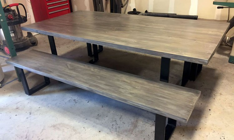 Handbuilt Hardwood & Steel Table | Custom Furniture Corinth Tx