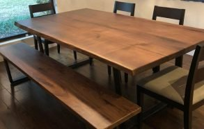 Handmade Walnut Table and Bench | Custom Conference Table Prosper Tx