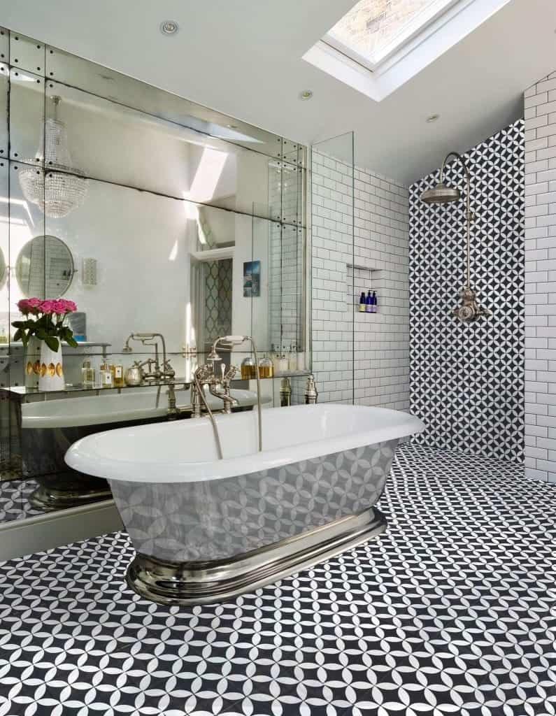 handmade cement tile 8x8 circulos black white floor tile encaustic