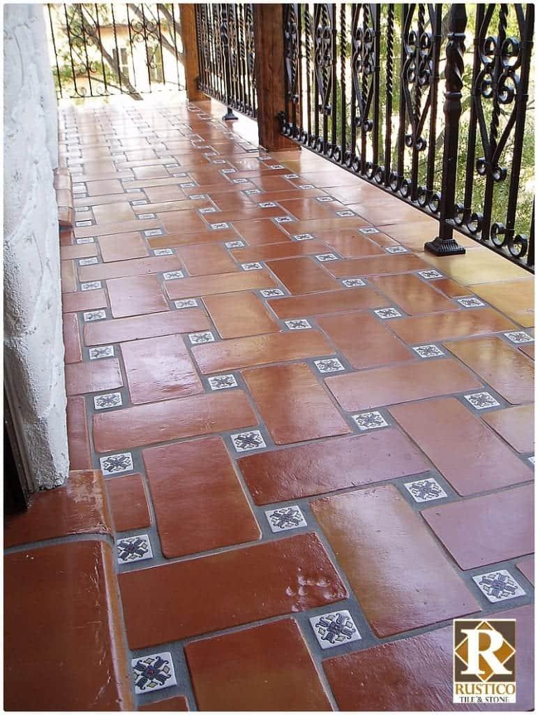 pinwheel saltillo tile floor pattern