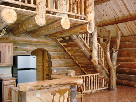 Log Cabin Custom Stairs And Rails Rustic Ozark Log Cabins