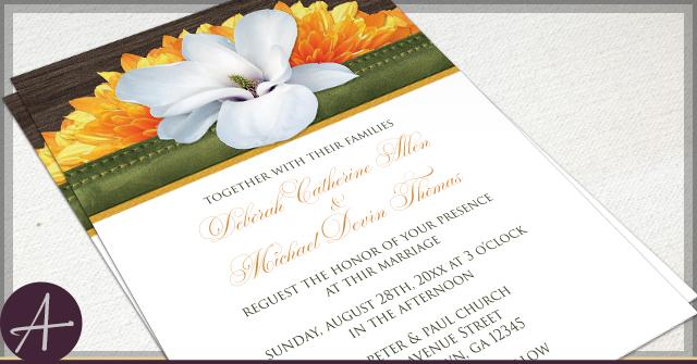 Rustic Magnolia Invitations by A