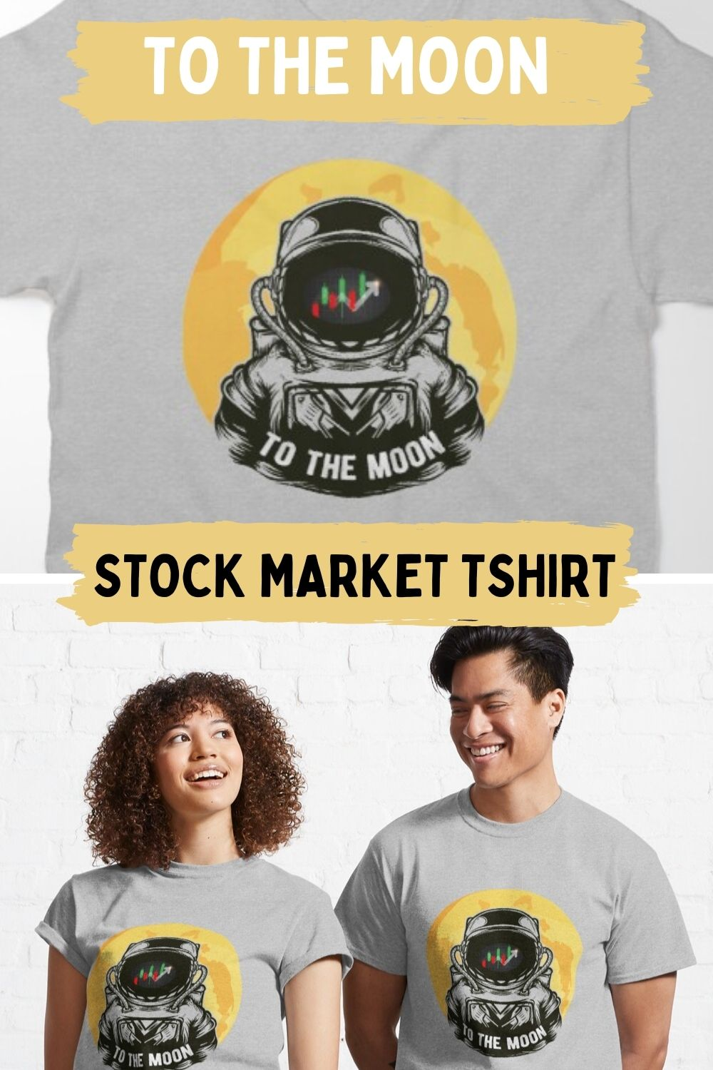 to the moon stock market tshirt