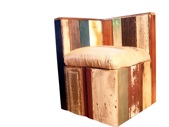 corner lounge chair upholstered and ottoman sets urban style from reclaimed wood coffee bean bags