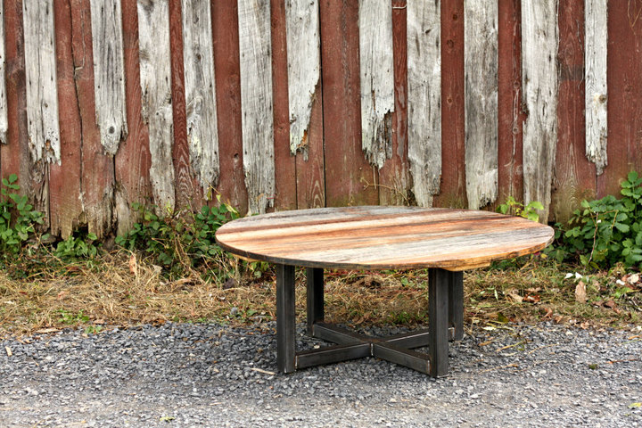 Weathered Grey Reclaimed Wood Coffee Table and Metal Base
