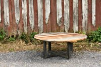 Weathered Grey Reclaimed Wood Coffee Table and Metal Base ...