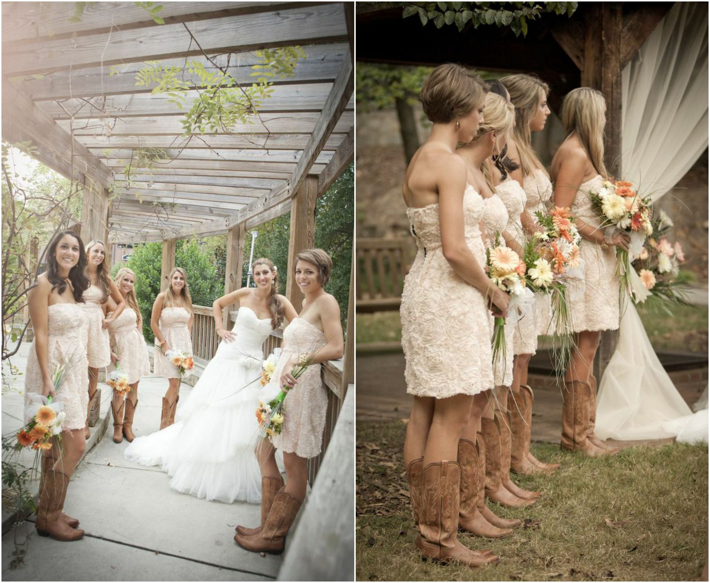 Rustic Wedding With Bridesmaids In Cowboy Boots  Rustic