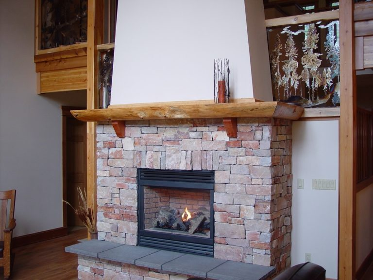 Wrap around fireplace mantel