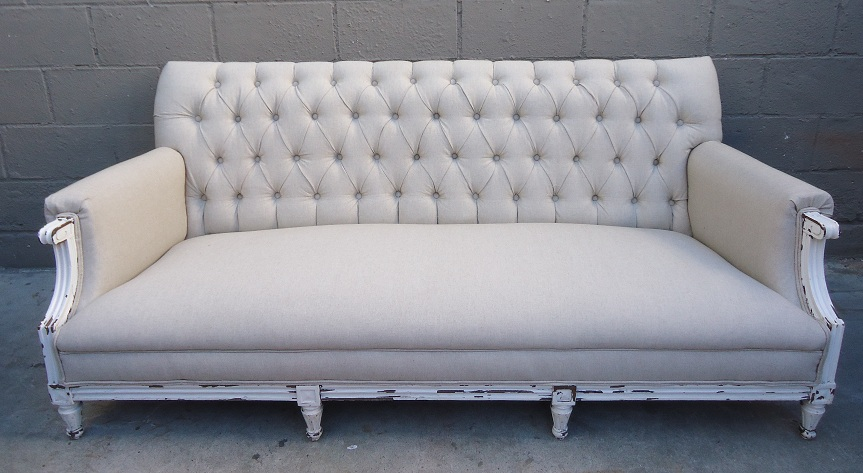 french linen tufted sofa e cia criciuma telefone upcycled rusty gold design gorgeous vintage the new like fabric contrasts beautifully against original weathered finish of frame