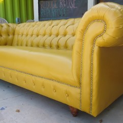 Tufted Yellow Chair Hanging Egg Za Chesterfield | Rusty Gold Design