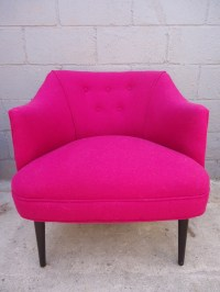 Upcycled Magenta Wool Accent Chair   Rusty Gold Design