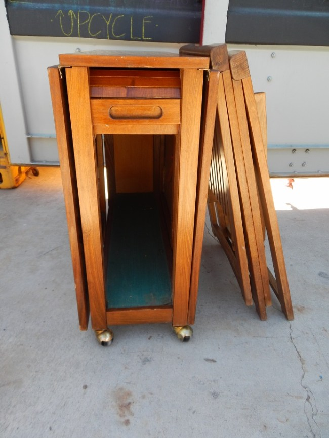 Teak Rolling Table with Hidden Compartment for Chairs