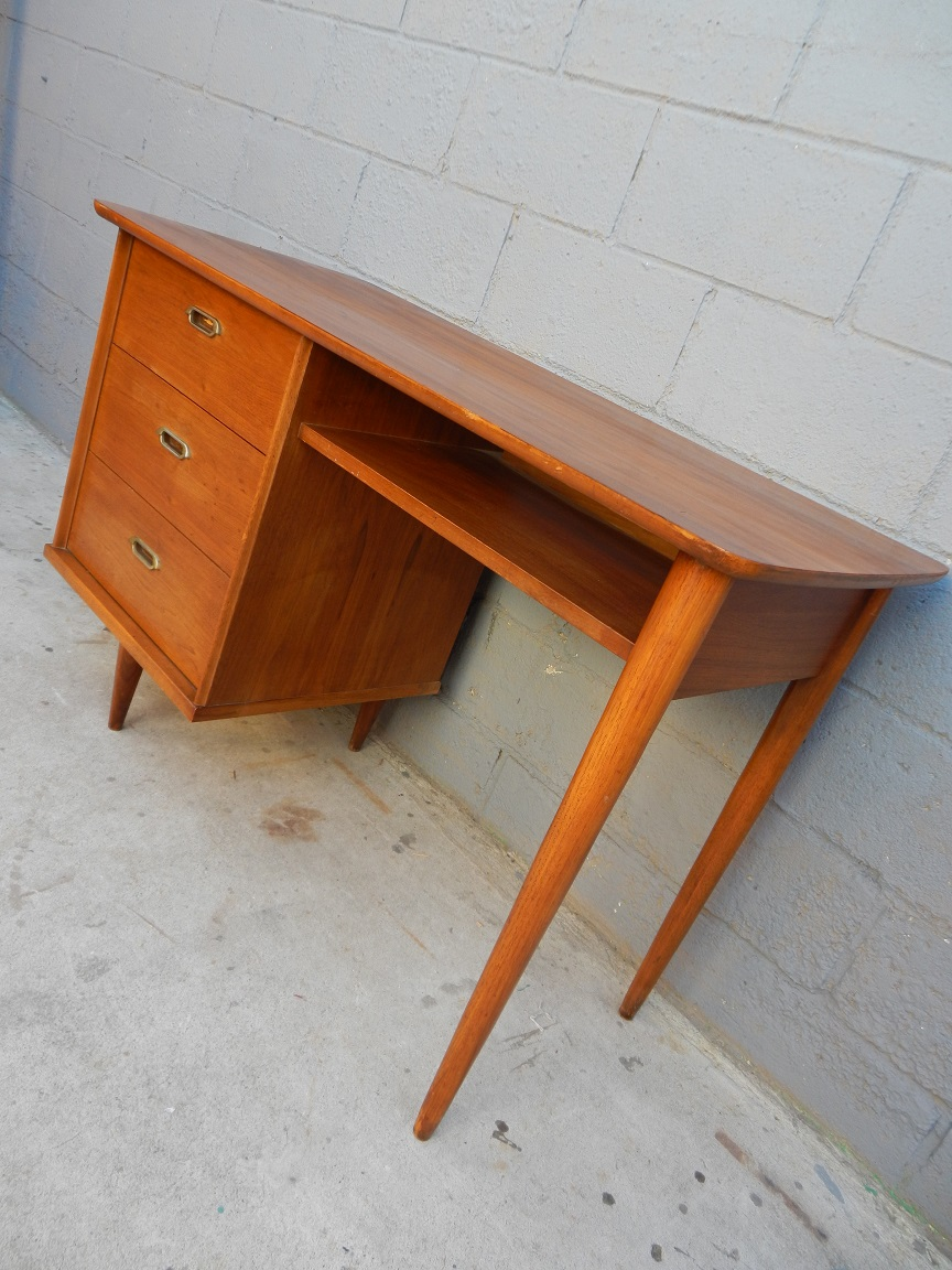 Small Mid Century Desk Rusty Gold Design