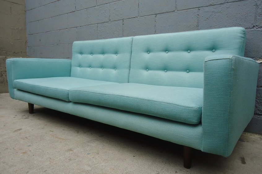 Upcycled Powder Blue Low Profile Sofa Rusty Gold Design